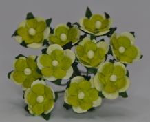 2 tone GREEN 2-LAYERED sweetheart blossom Mulbery Paper Flowers